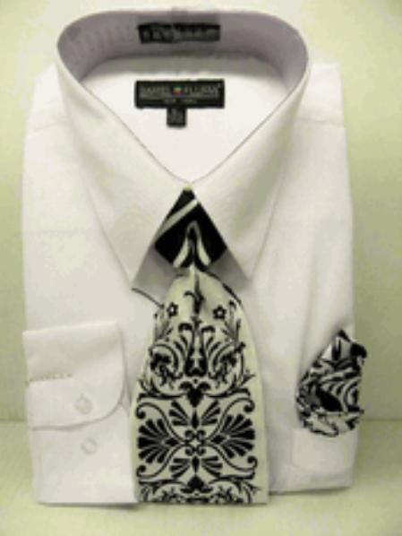 Mens White Dress Shirt Combinations Set Tie