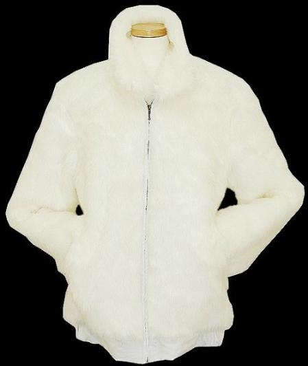 SKU#GP5437 Men's White Faux Fur Bomber Jacket