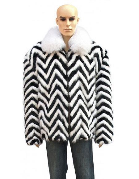 SKU#GD728 Mens White Fox Collar Fur Black/White Zipper Jacket