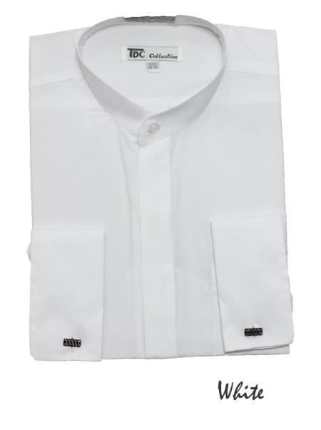 SKU#GT5762 Men's Fashion Hidden Button French Cuff Mandarin Collarless Dress Shirt White