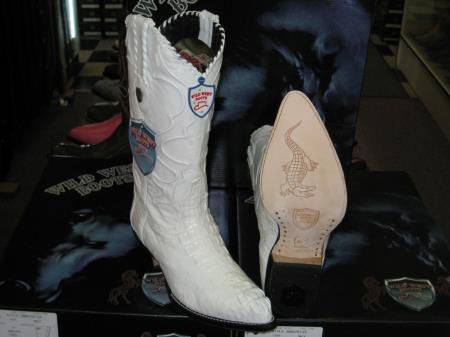 Wild West White Genuine Crocodile ~ World Best Alligator ~ Gator Skin Western Cowboy Dress Cowboy Boot Cheap Priced For Sale Online (EE)