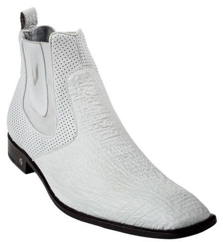 SKU#KA6989 Men's White Genuine Shark Dressy Boot Ankle Dress Style For Man