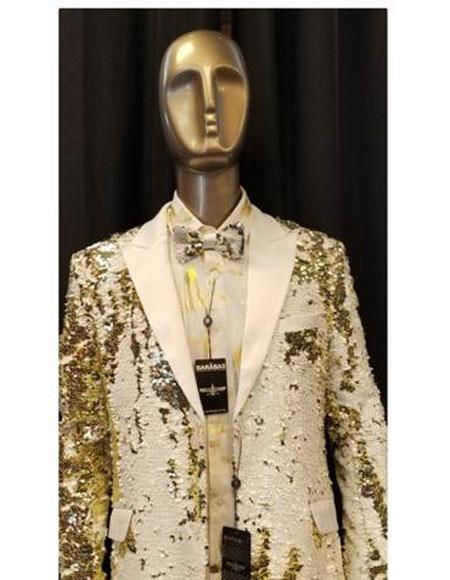 Mens Fashion Shiny Sequin Paisley Blazer Sport coat Tuxedo Jacket White ~ Gold