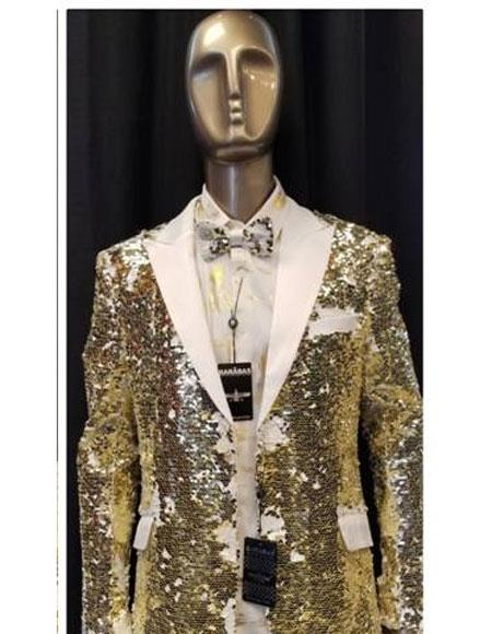 Mens Fashion White ~ Gold Shiny Sequin Paisley Blazer Sport coat Tuxedo Jacket