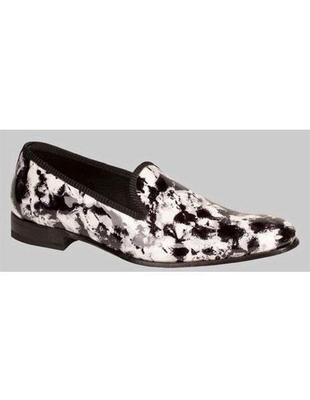 Buy GD498 Men's Handmade lack/White Leather Splash Pattern Shoes Authentic Mezlan Brand