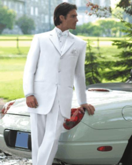 SKU# EMILY_Y733 White Mens Tuxedo Dress Suits