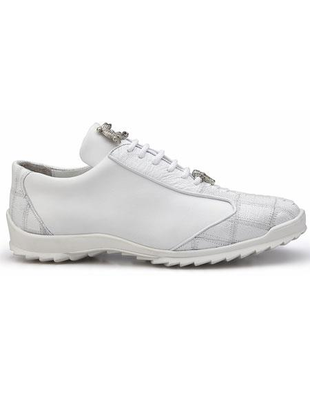 Mens Belvedere Paulo White Genuine Ostrich / Soft Calfskin Casual Sneakers