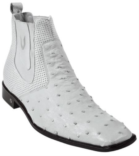 Mens Short Boots Mens Genuine White Full Quill Ostrich Dressy Boot Ankle Dress Style For Man