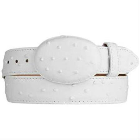 White Ostrich Print (Imitation) Western Style Leather Belt