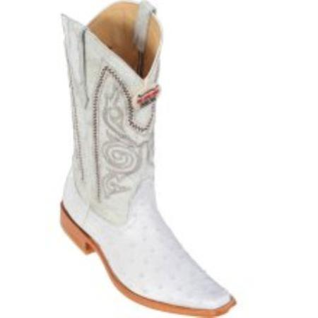 SKU#KA1135 Los Altos White Ostrich Cowboy Boots
