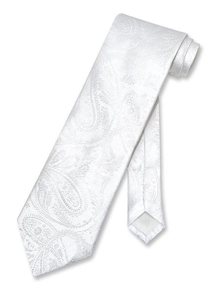 Mens Paisley Pattern White Polyester Neck Tie