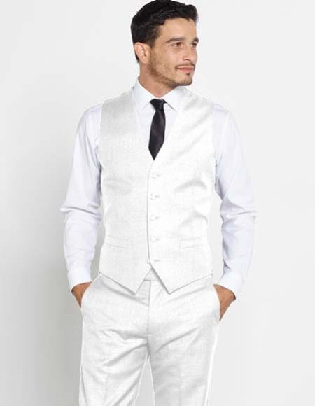 Buy SM2969 Mens Vest 100% Wool White Matching Dress Pants Set + Color Shirt & Tie Regular Fit
