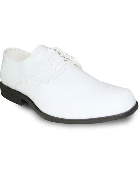 Men's Tuxedo White Patent Oxford