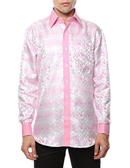 Shiny Satin Floral Spread Collar Paisley Dress Club Clubbing Clubwear Shirts Flashy Stage Colored Two Toned Woven Casual White-Pink Men's Dress Shirt