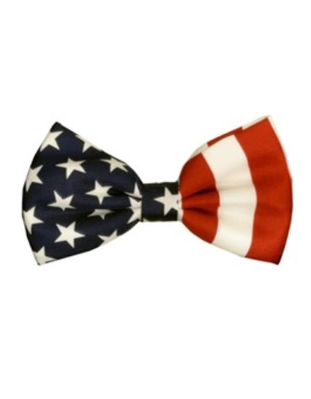 Mens White/Red/Blue American Flag Bowtie