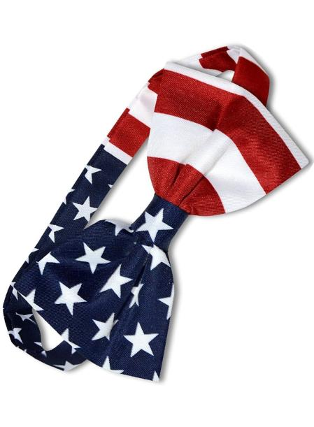 Mens White/Red/Blue Polyester American Flag USA Patriotic Bowtie