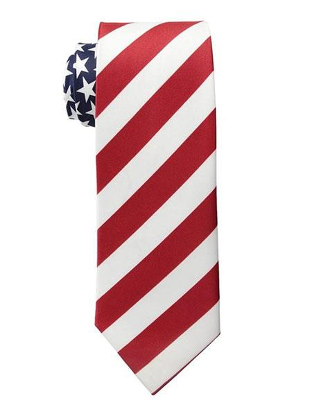 Mens Trendy American Flag Pattern White/Red Polyester Neck Ties