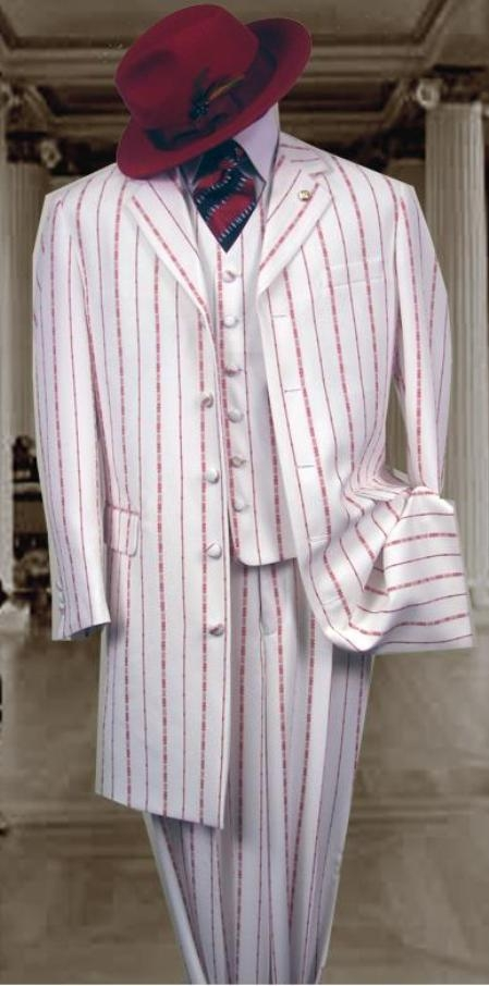 SKU#M282 White & Red Pinstripe Fashion Style Long Dress Suit 3 Pieaces Vested