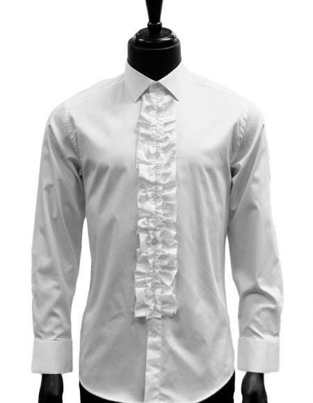 Mens classic White Ruffled Dress 100% Cotton casual Trendy tuxedo shirt