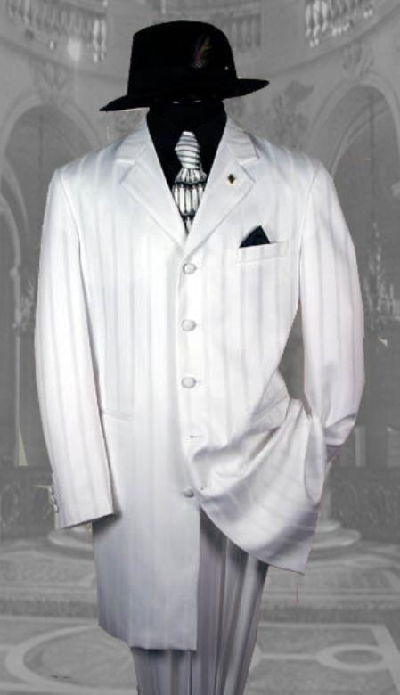 "SKU# AEF306 White Shadow Pinstripe Fashion NOTCH COLLAR; 38""LONG JACKET Suits"