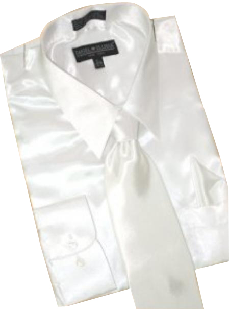 Fashion Cheap Priced Sale Satin White Dress Shirt Combinations Set Tie Hanky