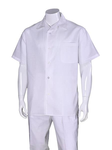 Mens 100% Linen Short Sleeve Plain White Casual Casual Two Piece Walking Outfit For Sale Pant Sets Suit With Pleated Pant