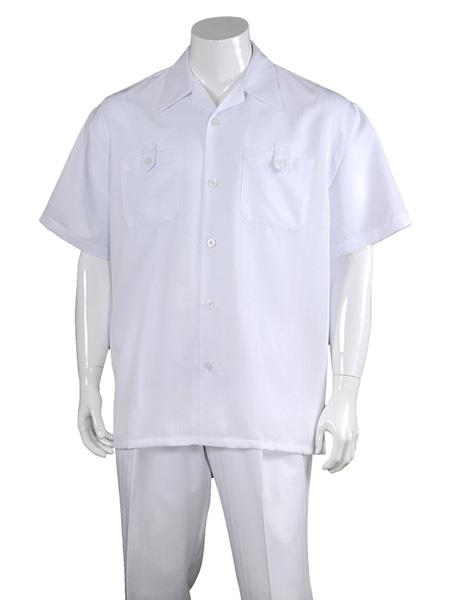 Mens Solid Casual 100% Polyester 5 Button Short Sleeve Casual Two Piece Walking Outfit For Sale Pant Sets Suits White