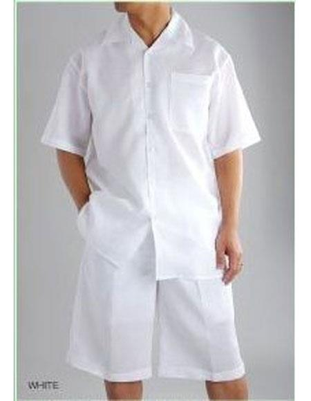 SKU#CH696 Mens Shirt And Shorts White color Two Piece Casual Casual Two Piece Walking Outfit For Sale Pant Sets Set Suit