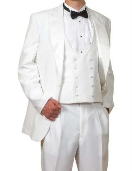 Mens Peak Lapel Vested 3 Piece 6 Piece Complete White Tuxedo (1 Button Jacket, Pants, Reversible Vest)