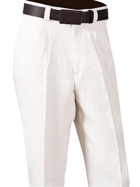 Mens Dress Casual Slacks White 100% Linen Single Pleated Dress Pants unhemmed unfinished bottom - Cheap Priced Dress Slacks For Men On Sale