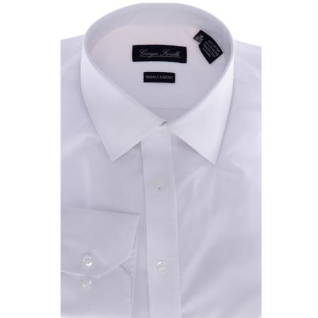 Mens Slim-Fit Dress Shirt Solid White