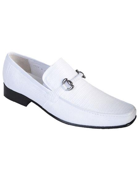 Men's White Genuine Teju Lizard Slip On Stylish Dress Loafer Los Altos Oxford Shoes Perfect for Men