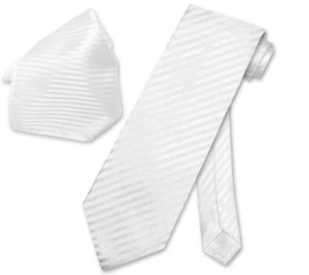 Buy DQ5023 White Striped NeckTie & Handkerchief Matching Neck Tie Set