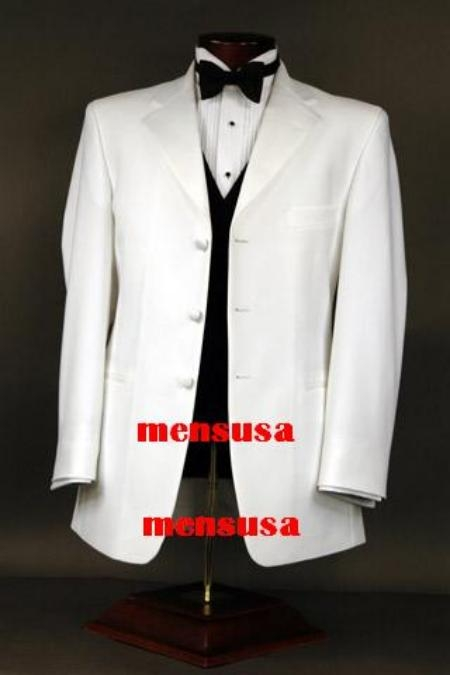 SKU# PUX618 White Tuxedo 3 Buttons  100% Cool Light No Wrinkle Wool Super 150s Jakcet + Pants + Shirt + Bow Tie