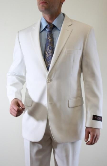 Tazio Men's White Tonal Fine Pinstripe 2 Button Suit