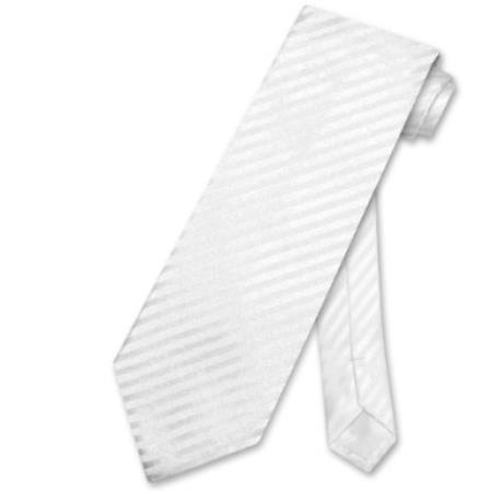 White Vertical Stripes Design Mens Neck Tie