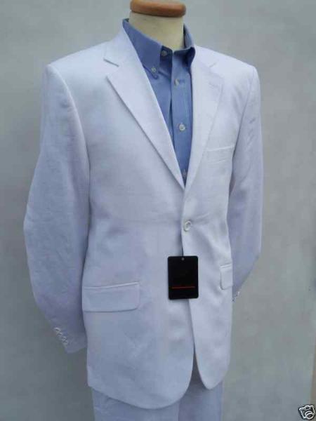 SKU#WHT812 Mens White Linen Designer Wedding Dress Suit Mens & Boys Sizes