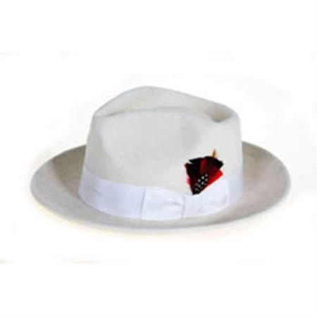 White Wool Felt Fedora