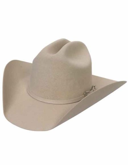 Mens white tone satin lining western style hat