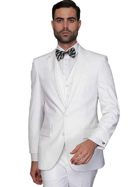 Mens White Italian Wool Single Breasted 3 Piece Slim Fit Vested Suit (Buy Wholesale 10PC&UP of this for $90)