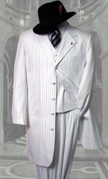 SKU#LS247 White 3PC Pinstripe Fashion Zoot Suit $159
