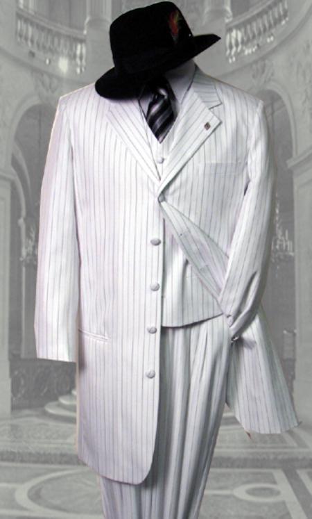 SKU#LS247 White 3PC Pinstripe Fashion Zoot Suit $159