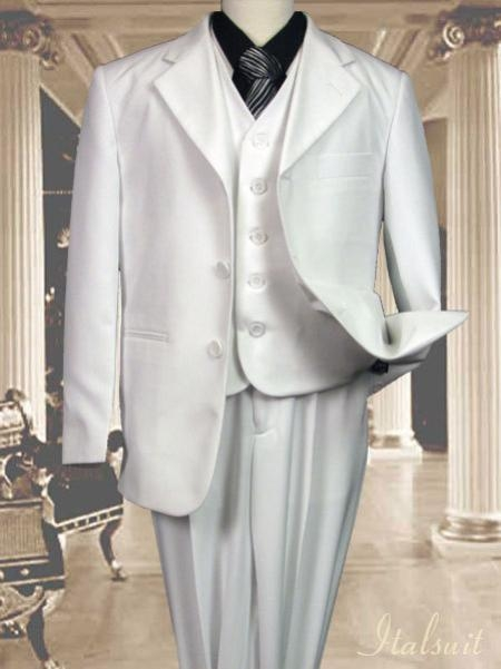 SKU#CD9278 White 3pc Solid Suit With Vest For Kids $79