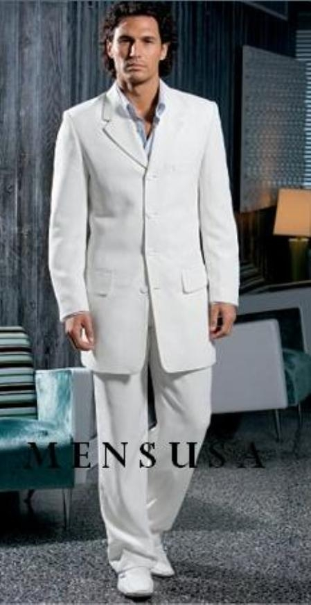 SKU#A644TR White 4 Buttons Suit Four-button jacket with notch collar $499