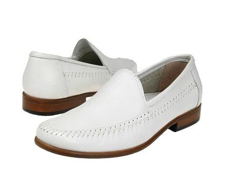SKU# 67022 White A-line slip-on with tumbled leather. Leather sole. $89