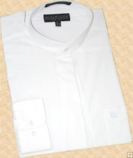 SKU#SE900 White Banded Collar Cotton Blend Dress Shirt $59