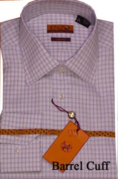 SKU#MN331 White/Blue Shirt Regular Cuff 62024-1-B $75
