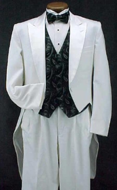 SKU#KO377 White Classic Fashion Basic Full Dress Tailcoat with Peak Lapel