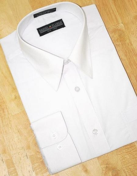 SKU#HK650 White Cotton Blend Dress Shirt With Convertible Cuffs $39