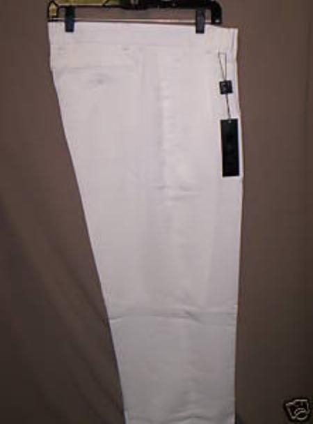 "SKU#WL10 White Deep Pleat-Wide Leg 22- Inch"" around the bottom Pleated baggy dress trousers $59"
